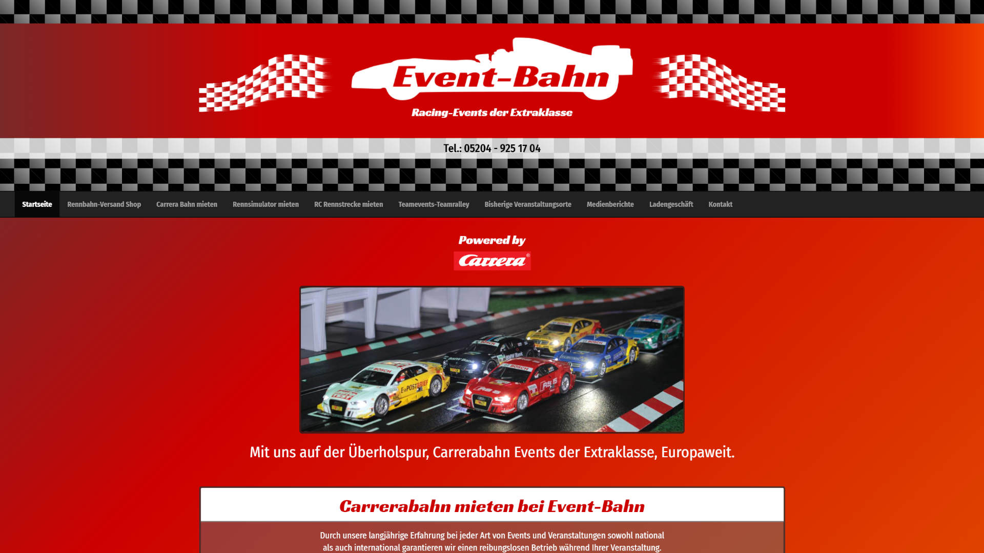 Screenshot: Carrerabahn Vermietung Homepage