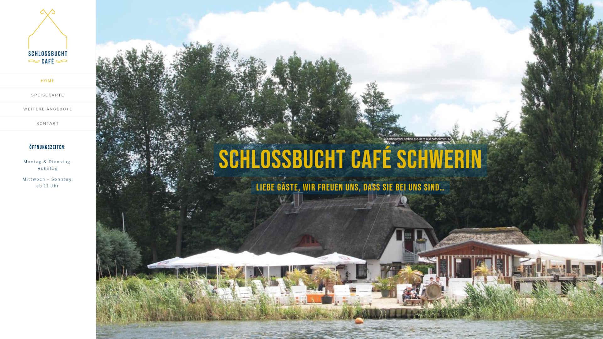 Screenshot: Homepage Schlossbucht Café Schwerin