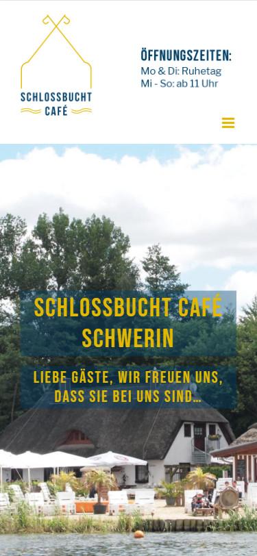 Screenshot Mobilansicht: Homepage Schlossbucht Café Schwerin