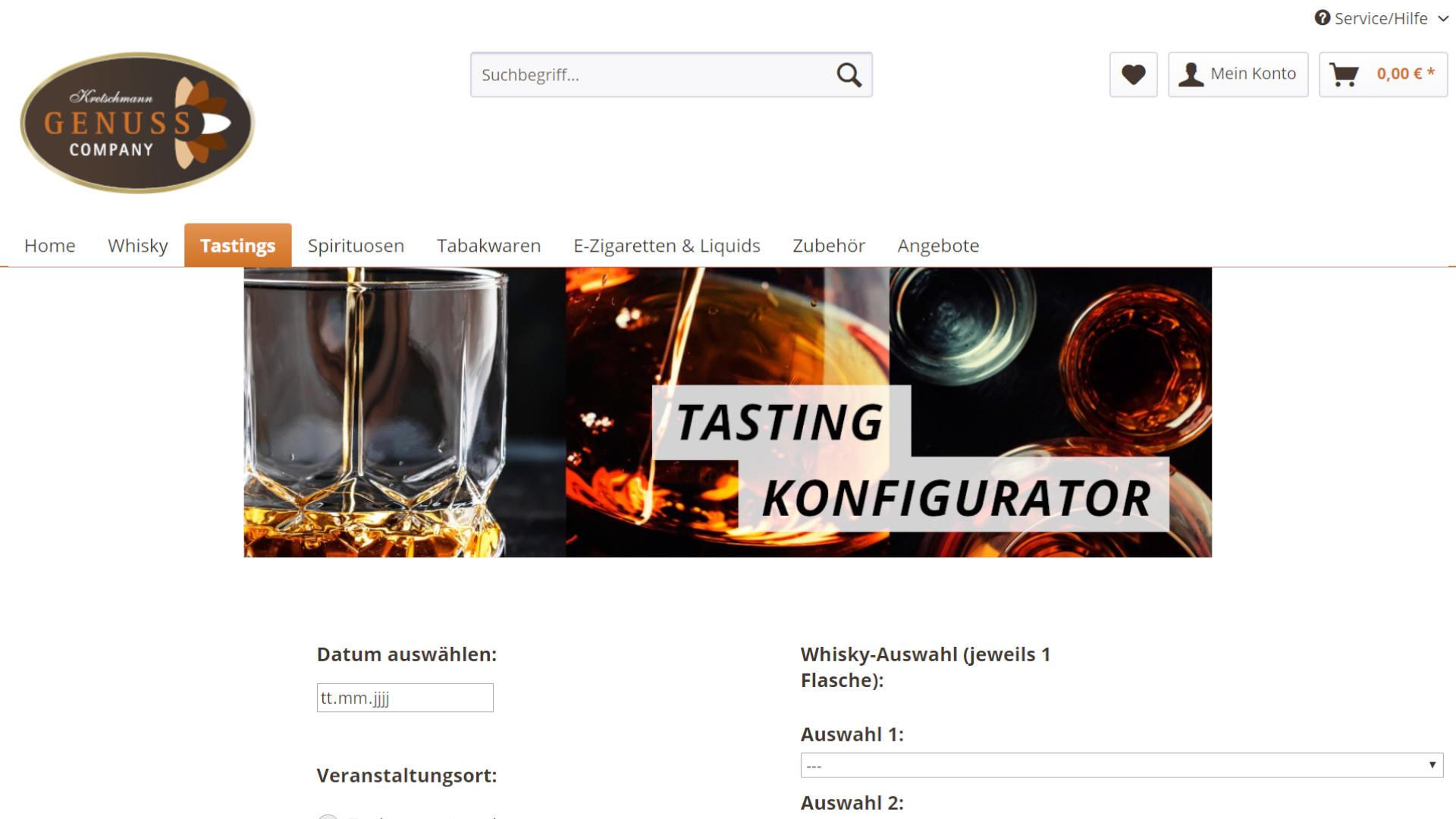 Screenshot: Kretschmann24 Webshop mit Tasting-Konfigurator
