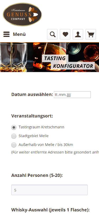 Mobilansicht: Kretschmann24 Webshop mit Tasting-Konfigurator
