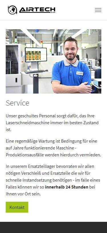Screenshot Mobilansicht: Homepage Airtech Laser
