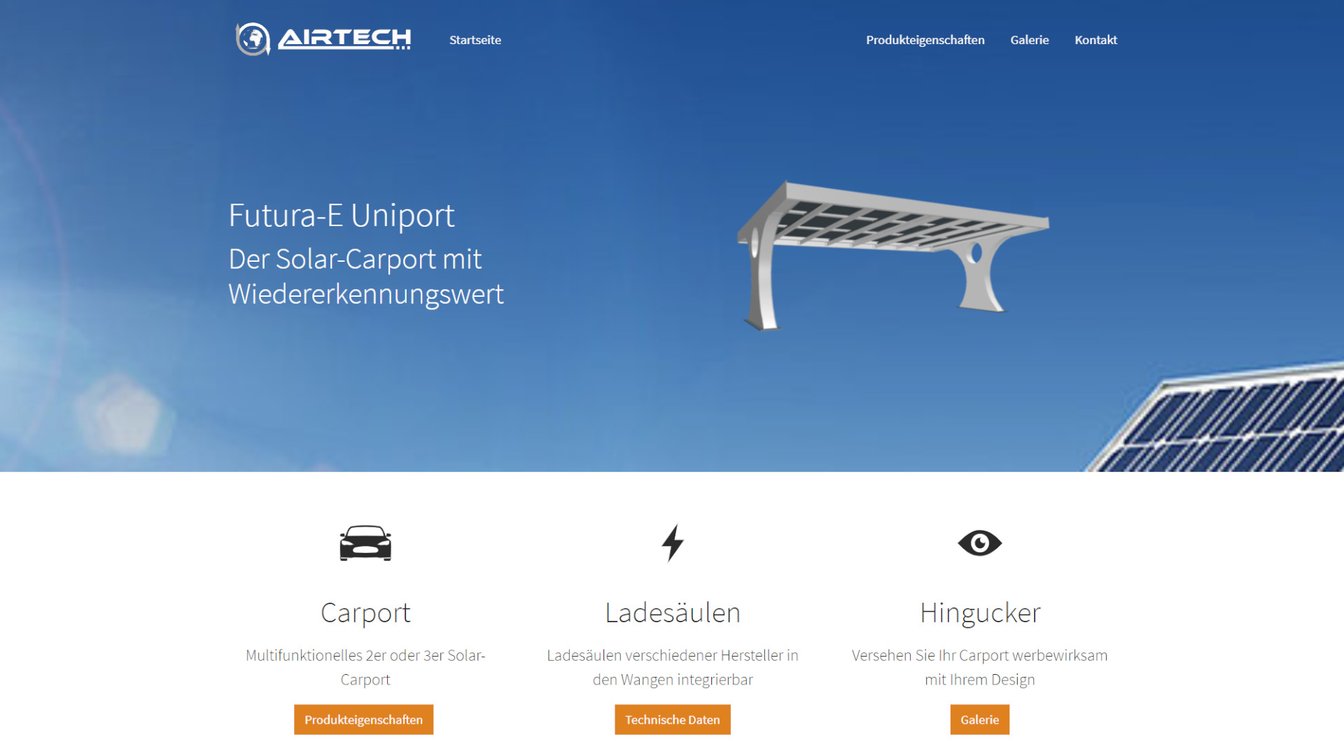 Screenshot: Homepage Airtech Solar Carport