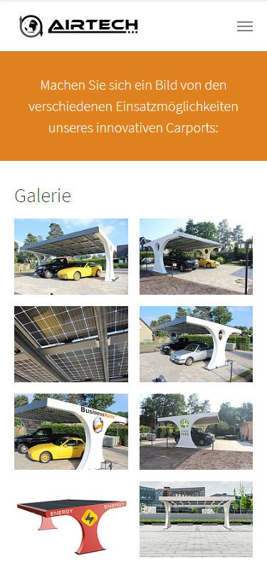 Screenshot Mobilansicht: Homepage Airtech Solar Carport
