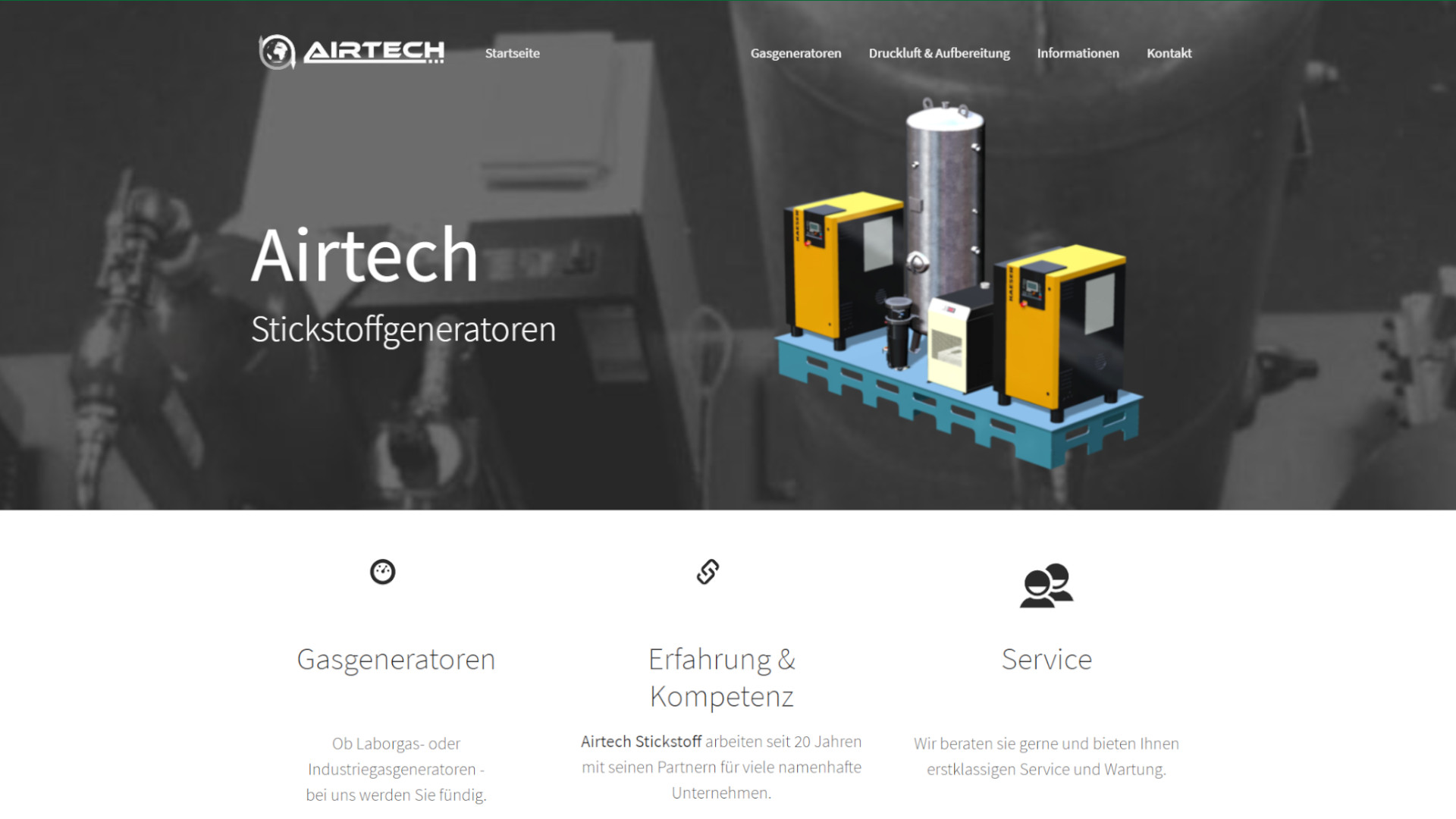 Screenshot: Homepage Airtech Stickstoff