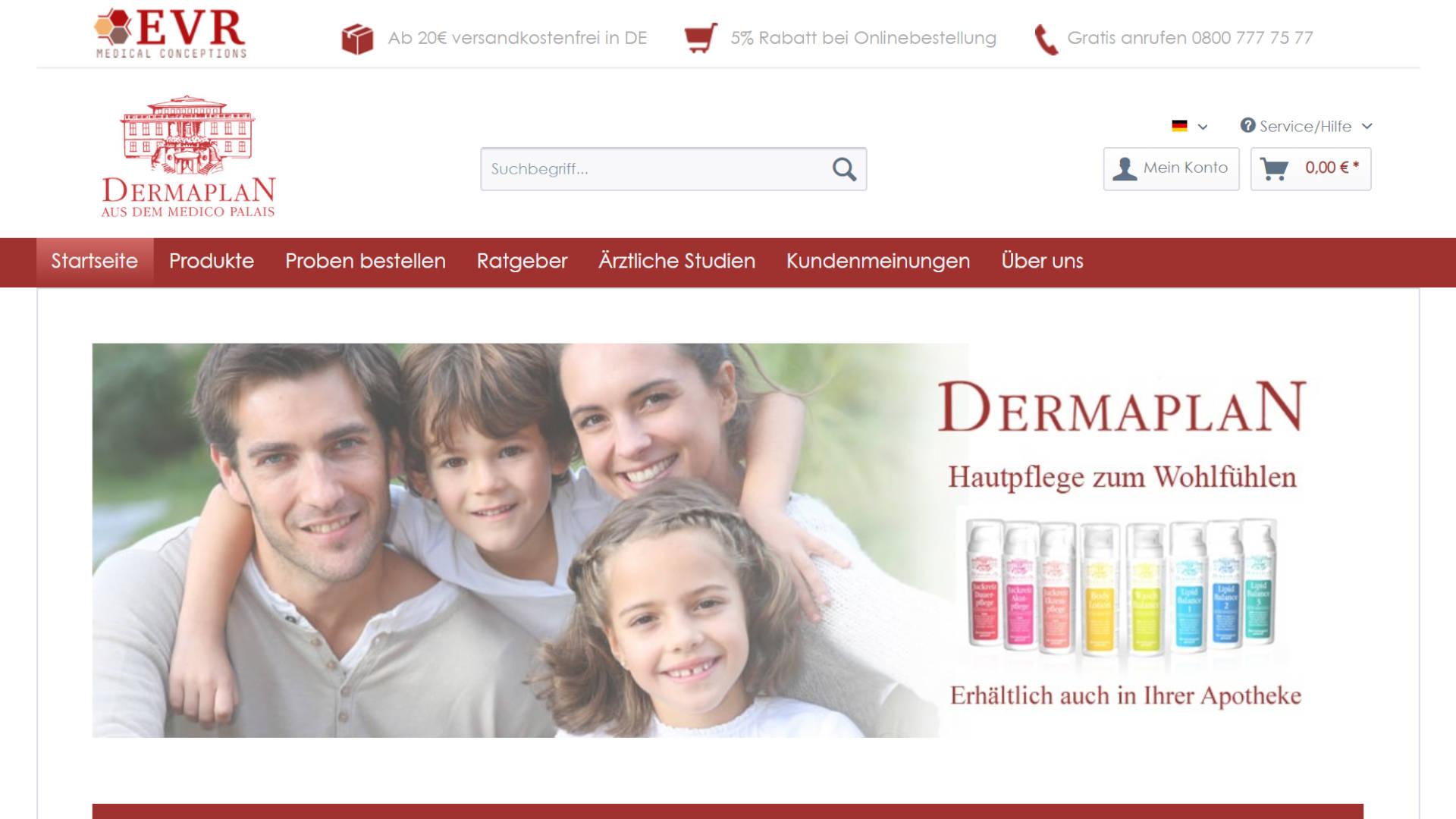 Screenshot: Dermaplan Hautpflege - Onlineshop