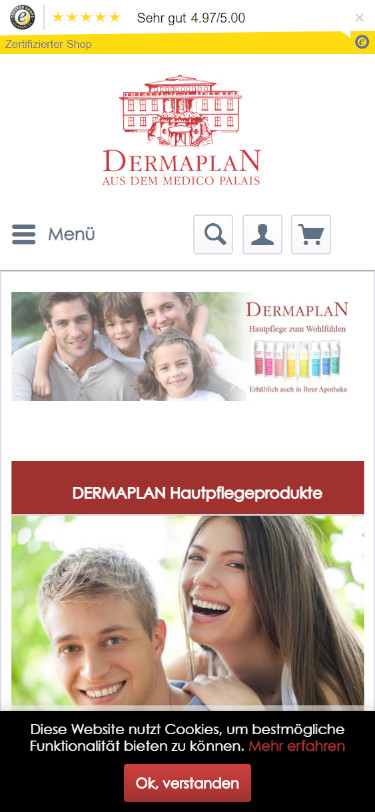 Screenshot Mobilansicht: Dermaplan Hautpflege - Onlineshop