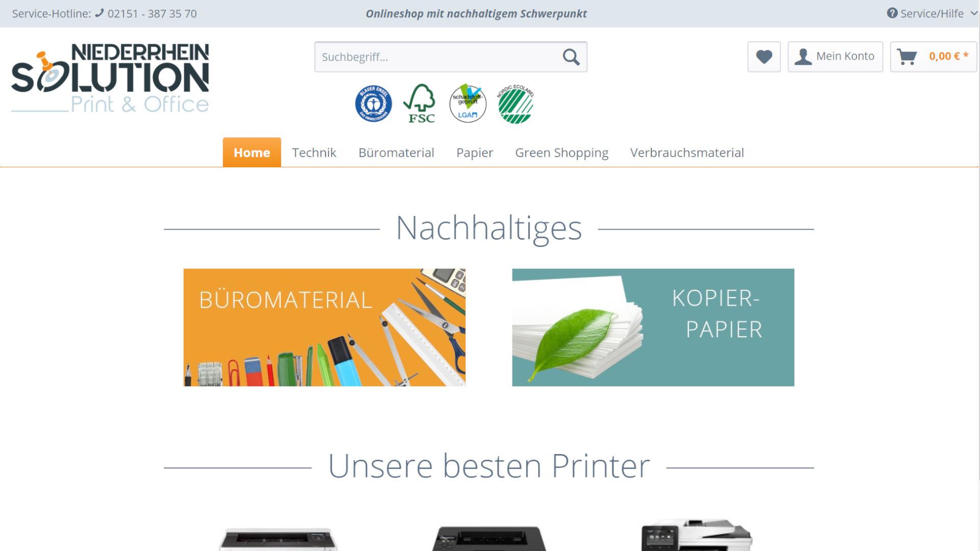 Screenshot: Niederrhein Solution - Druckerzubehör - Onlineshop