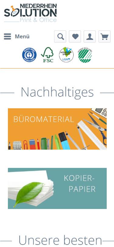 Screenshot Mobilansicht: Niederrhein Solution - Druckerzubehör - Onlineshop