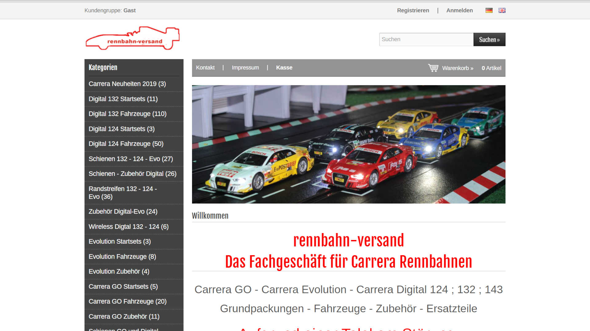 Screenshot: Rennbahn Versand - Onlineshop