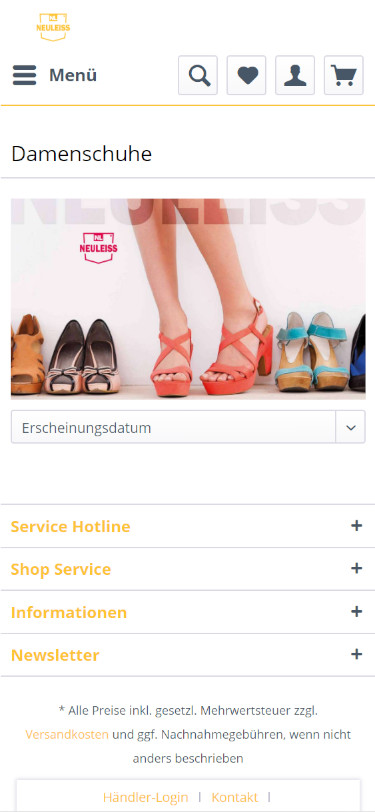 Screenshot Mobilansicht: Schuhe Neuleiss Onlineshop