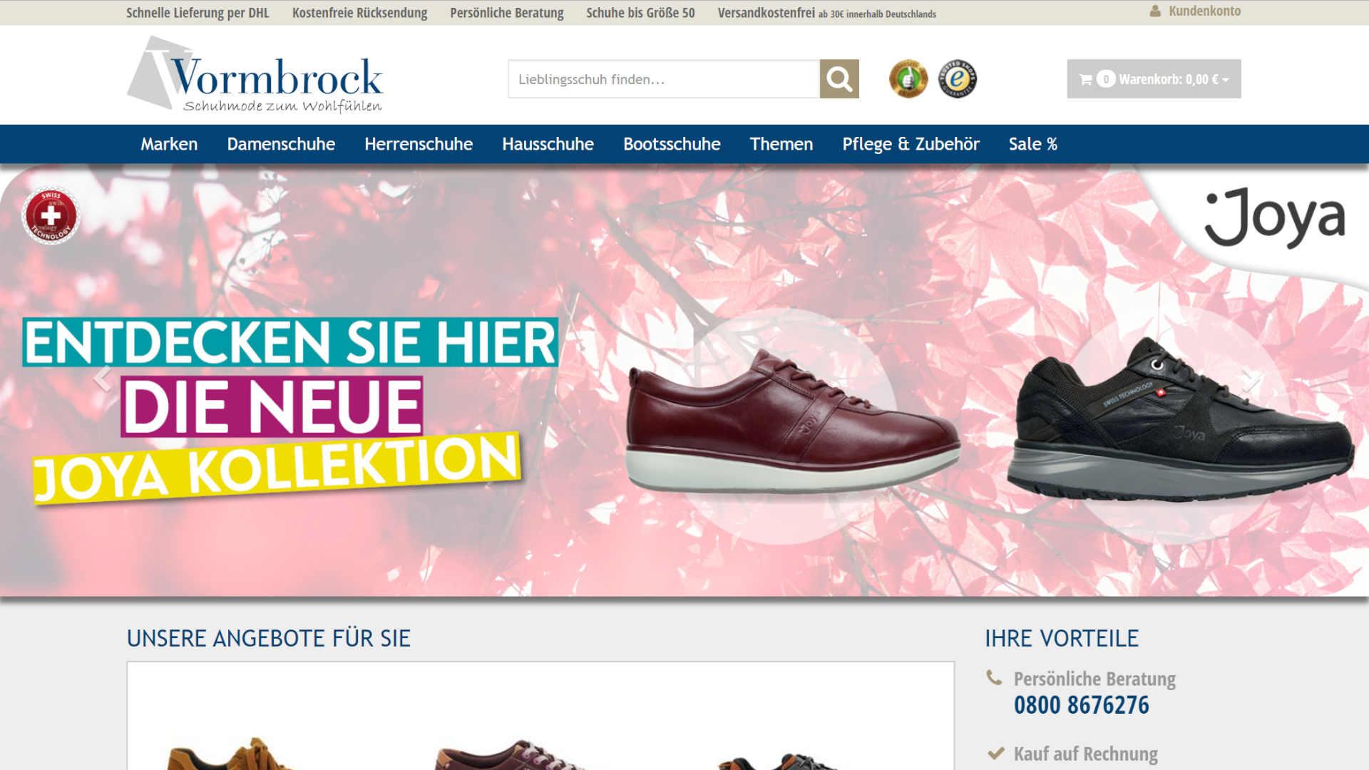 Screenshot: Schuhhaus Vormbrock - Onlineshop