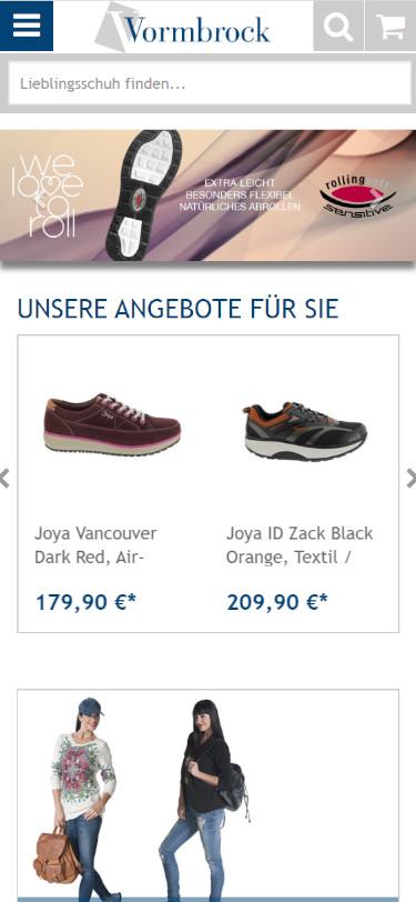 Screenshot Mobilansicht: Schuhhaus Vormbrock - Onlineshop