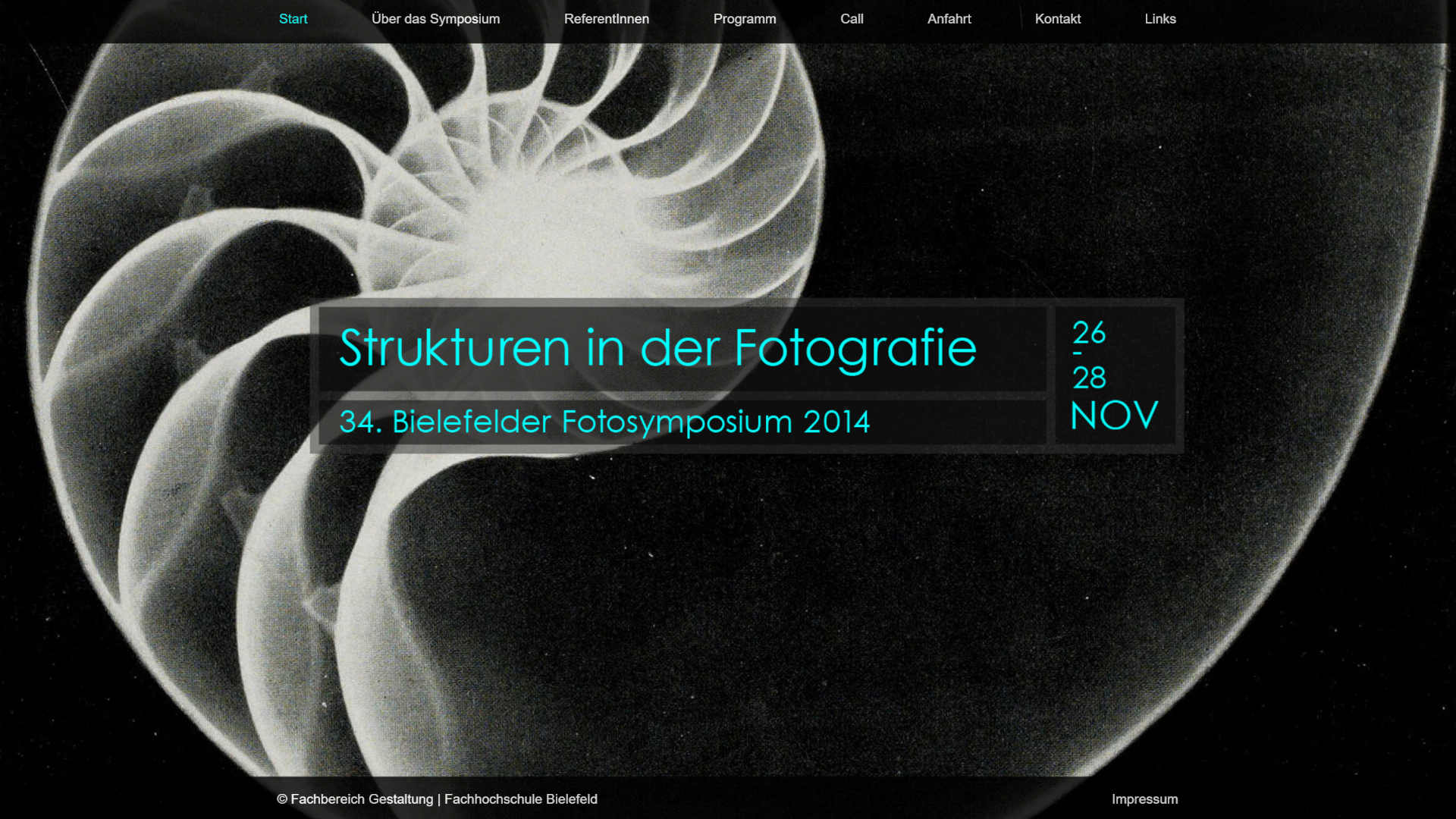 Screenshot: Homepage 34. Bielefelder Fotosymposium