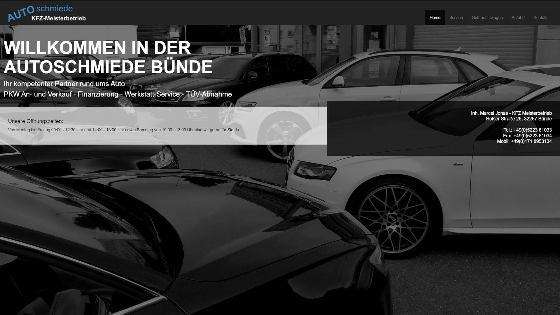 Screenshot: Homepage Autoschmiede Bünde