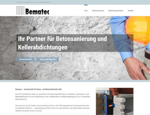 Bematec – Beton- & Materialtechnik – WordPress Webseite