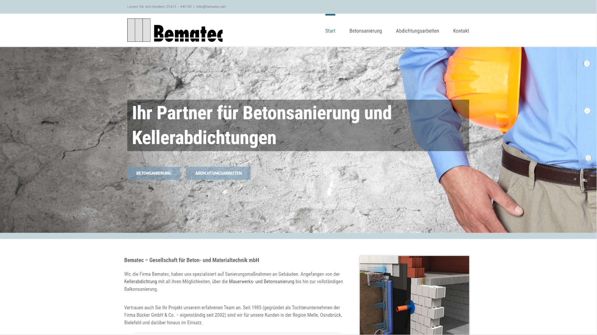Screenshot: Homepage Bematec