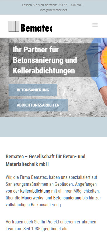 Screenshot Mobilansicht: Homepage Bematec