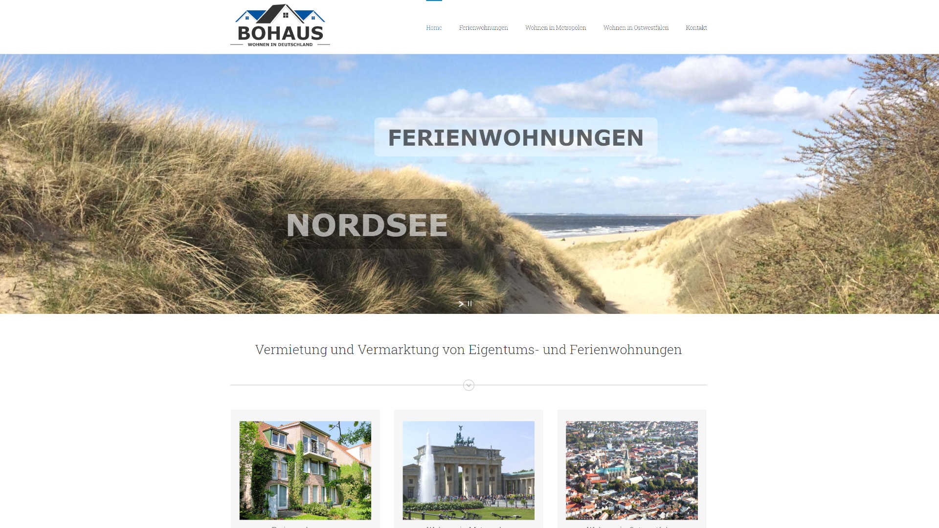 Screenshot: Homepage Bohaus Immobilien