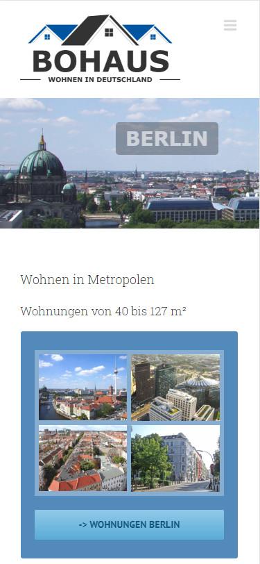 Screenshot Mobilansicht: Homepage Bohaus Immobilien