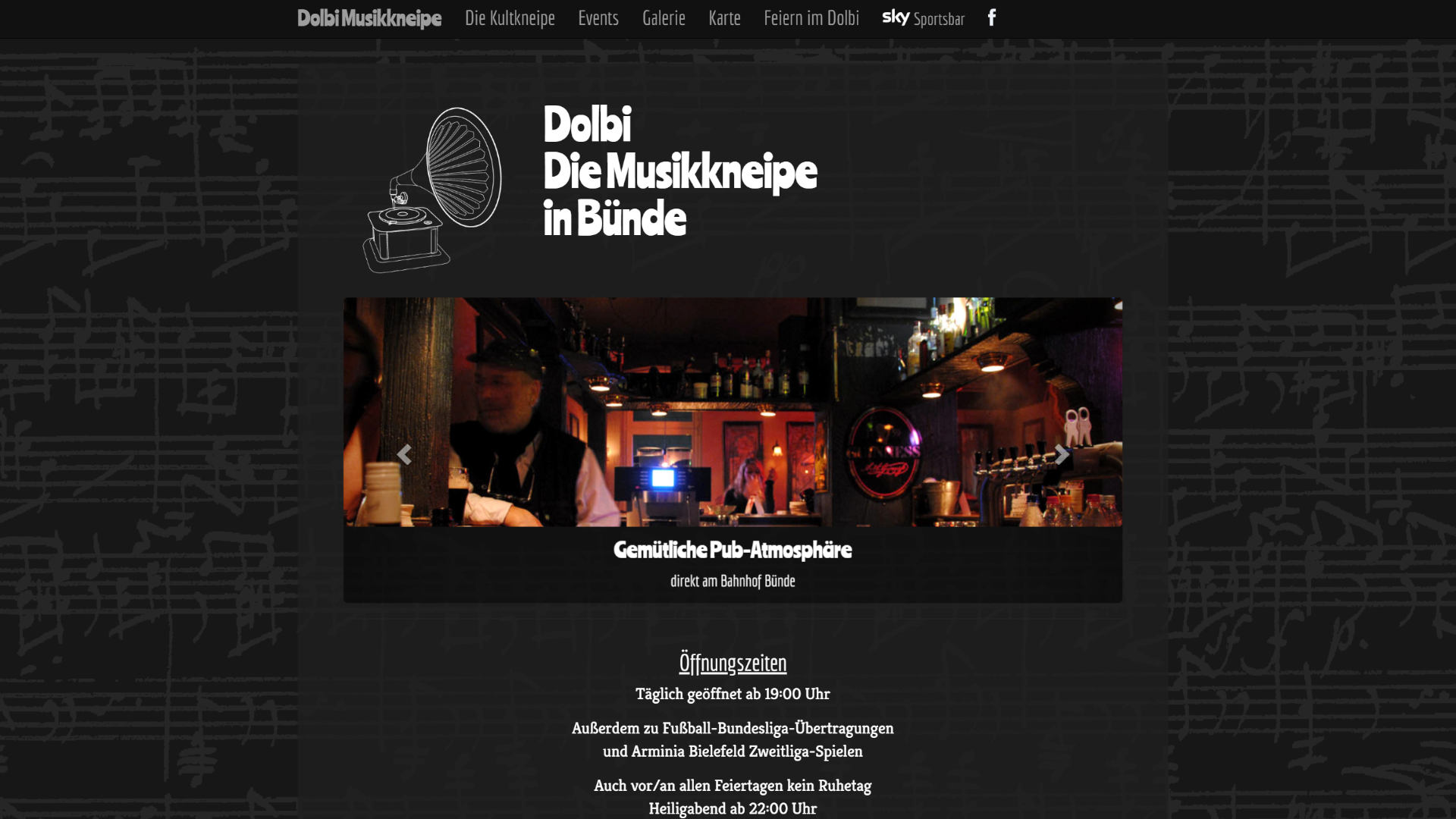 Screenshot: Homepage Dolbi Musikkneipe
