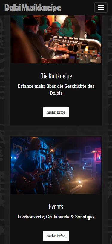 Screenshot Mobilansicht: Homepage Dolbi Musikkneipe