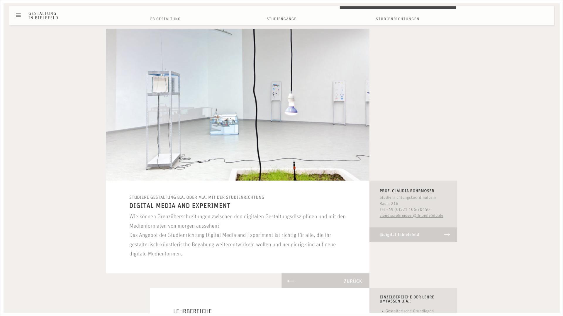 Screenshot: Homepage FH Bielefeld Fachbereich Gestaltung