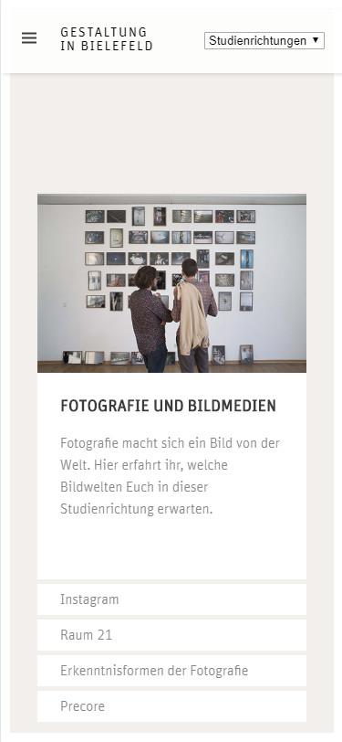 Screenshot Mobilansicht: Homepage FH Bielefeld Fachbereich Gestaltung