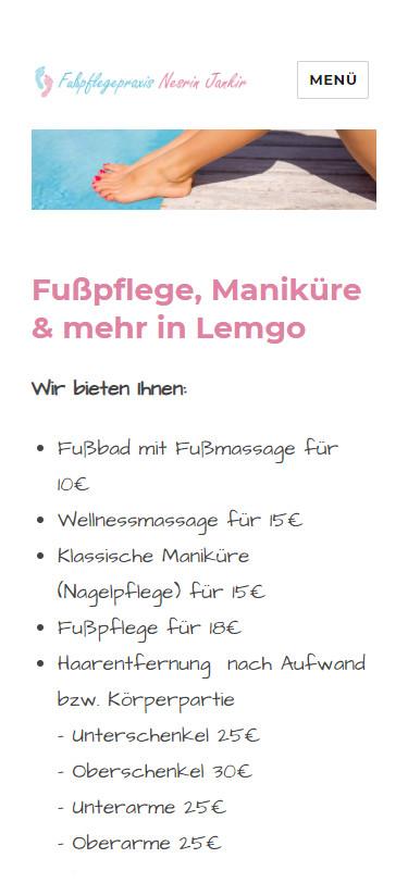 Screenshot Mobilansicht: Homepage Fußpflege Jankir