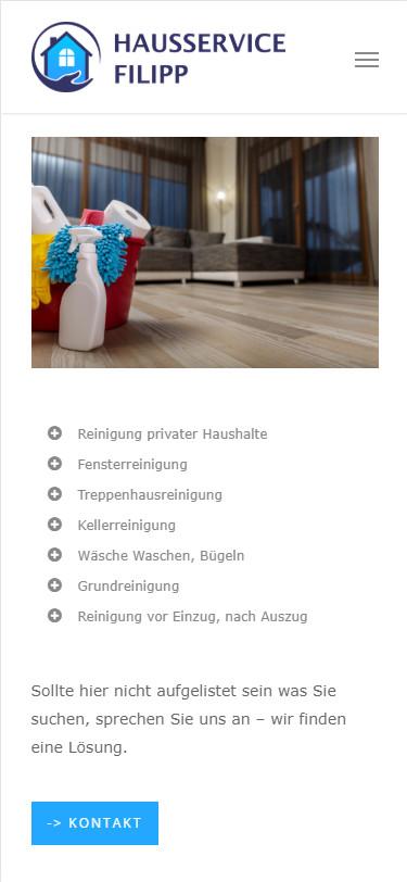 Screenshot Mobilansicht: Homepage Hausservice Filipp