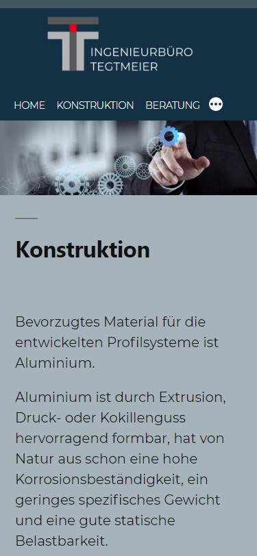 Screenshot Mobilansicht: Homepage Ingenieurbüro Tegtmeier