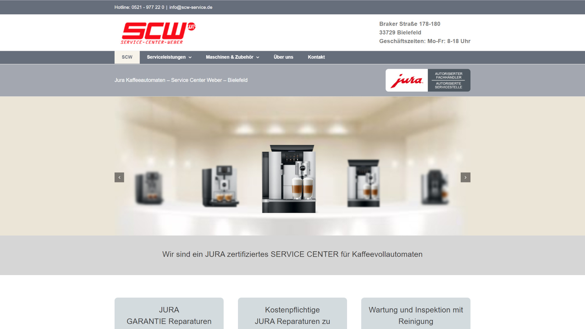 Screenshot: Homepage Jura Service Center Weber