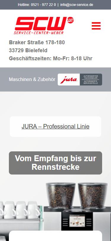 Screenshot Mobilansicht: Homepage Jura Service Center Weber