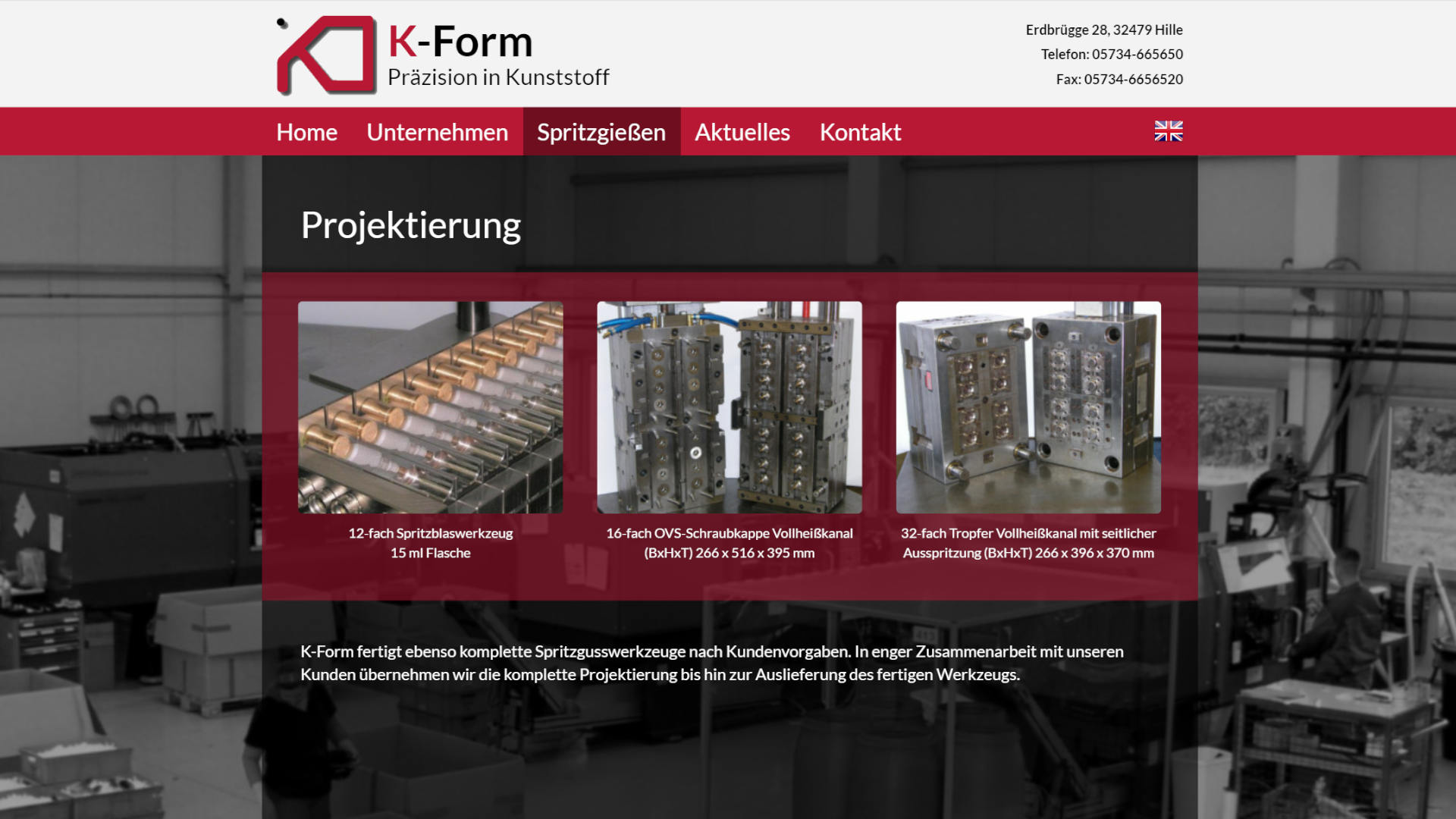 Screenshot: Homepage K-Form Kunststoff