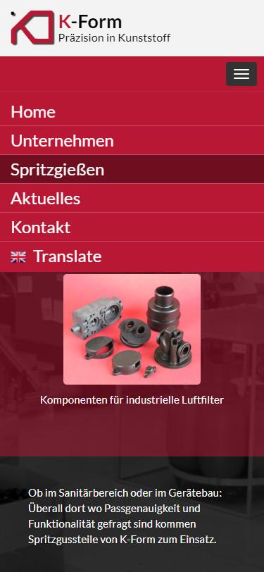 Screenshot Mobilansicht: Homepage K-Form Kunststoff