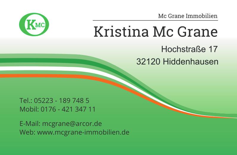 Visitenkarte: Mc Grane Immobilien