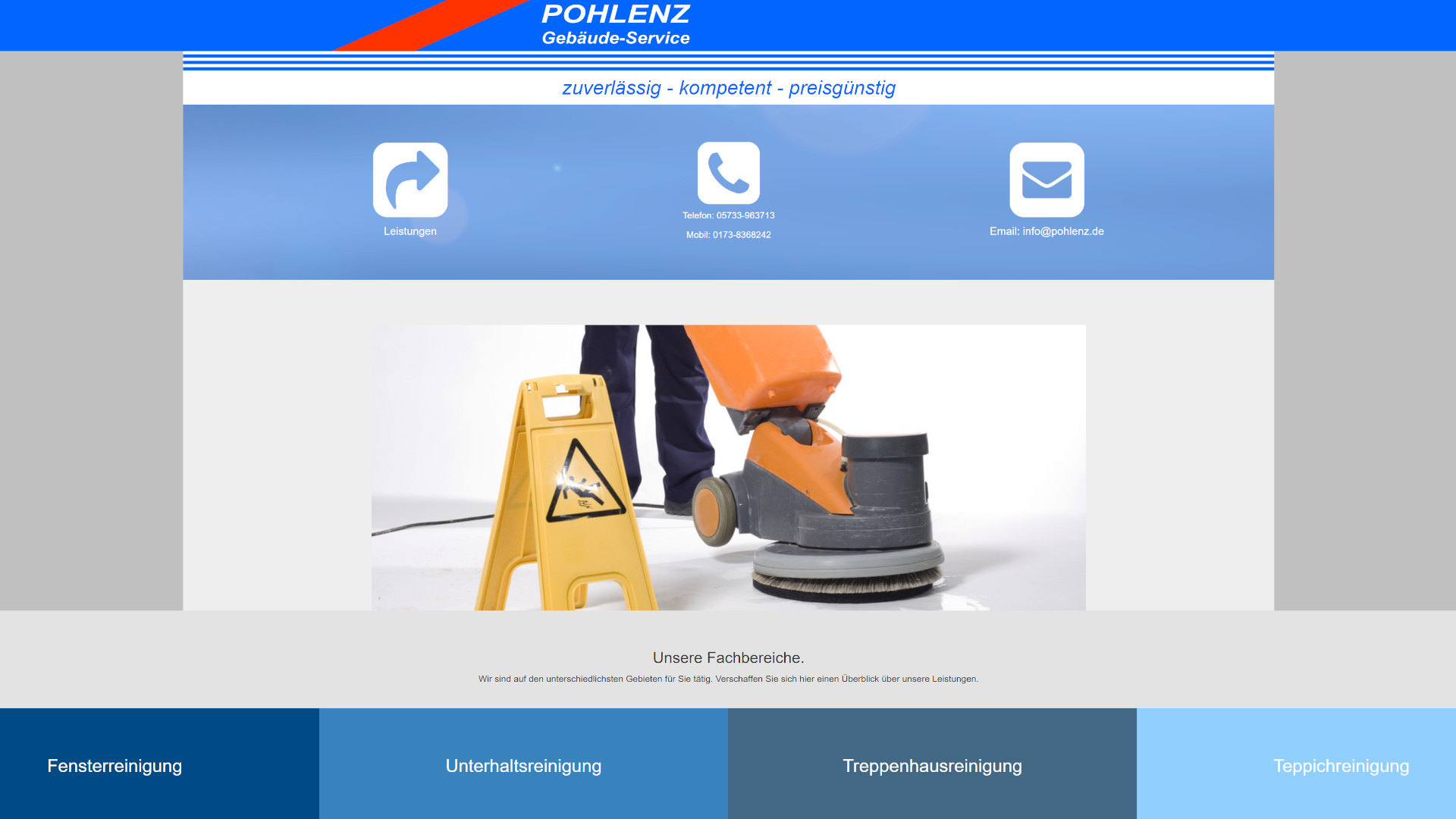 Screenshot: Homepage Pohlenz Gebäudeservice