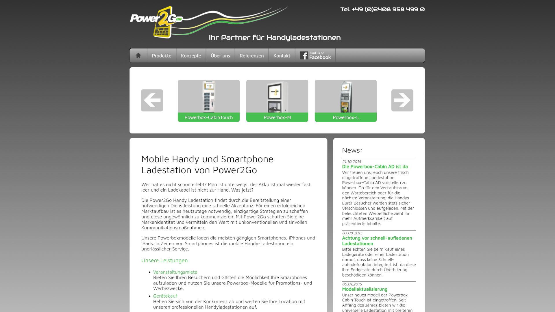 Screenshot: Homepage Power2Go Handyladestationen