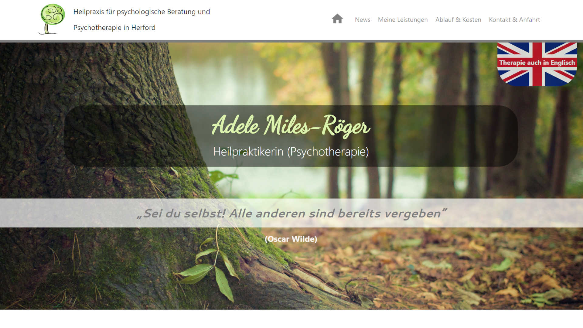 Screenshot: Homepage Praxis Miles-Röger