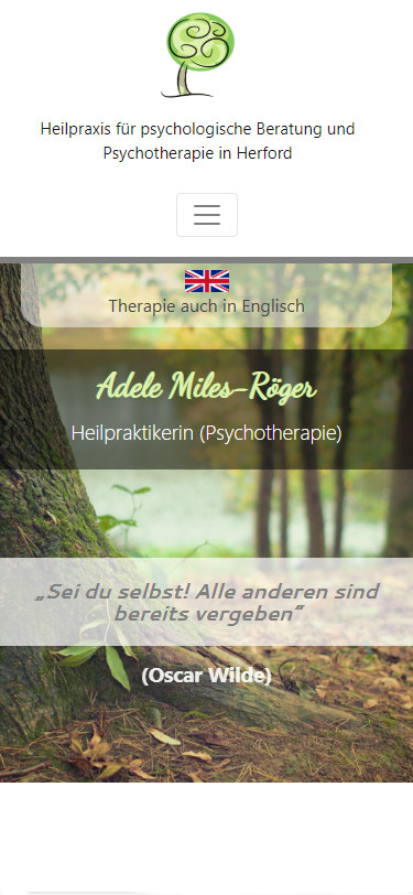 Screenshot Mobilansicht: Homepage Praxis Miles-Röger