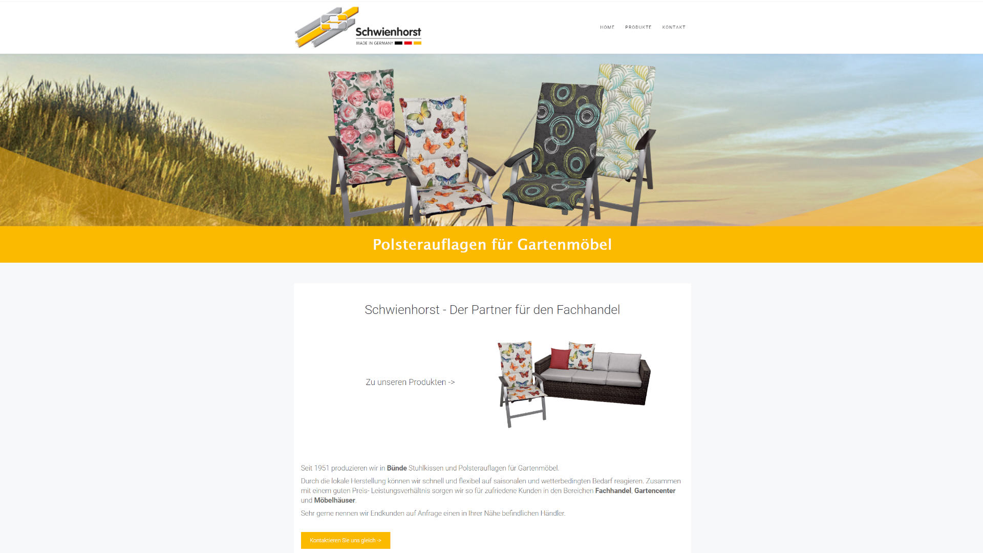 Screenshot: Homepage Schwienhorst Polstermöbel