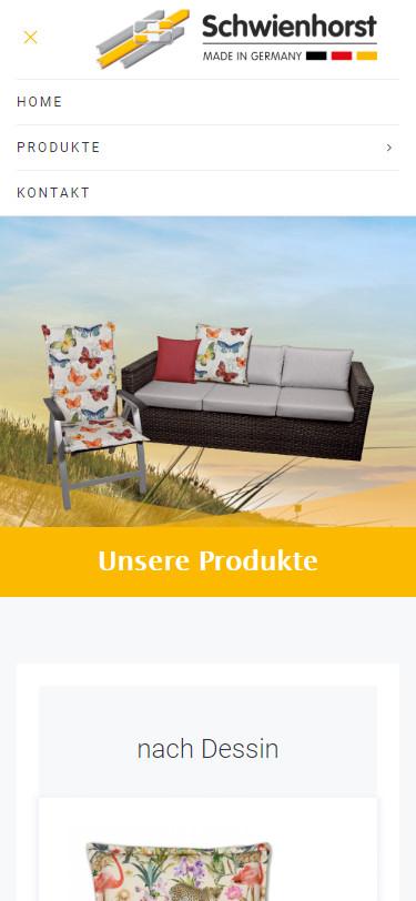 Screenshot Mobilansicht: Homepage Schwienhorst Polstermöbel
