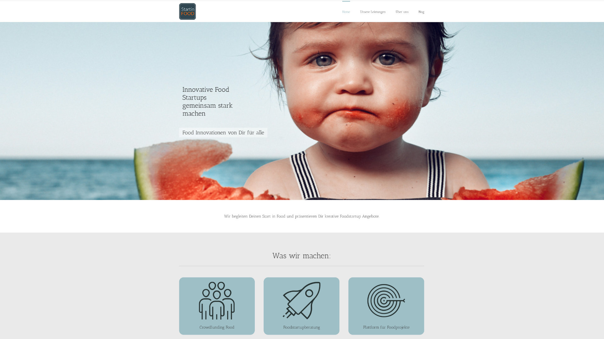 Screenshot: Homepage StartinFood
