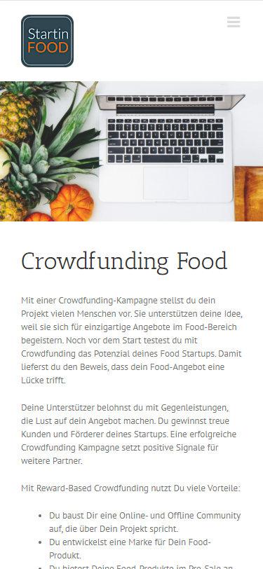 Screenshot Mobilansicht: Homepage StartinFood