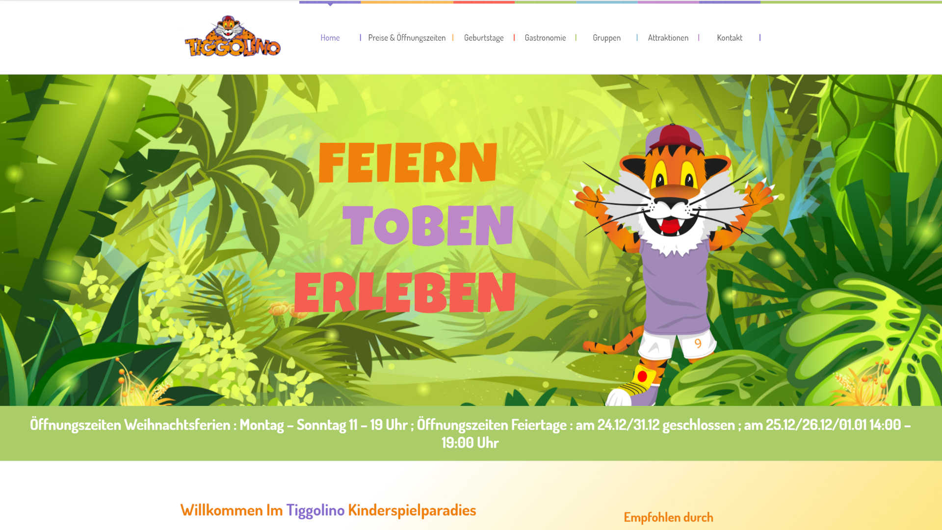 Screenshot: Homepage Tiggolino Kinderspielparadies