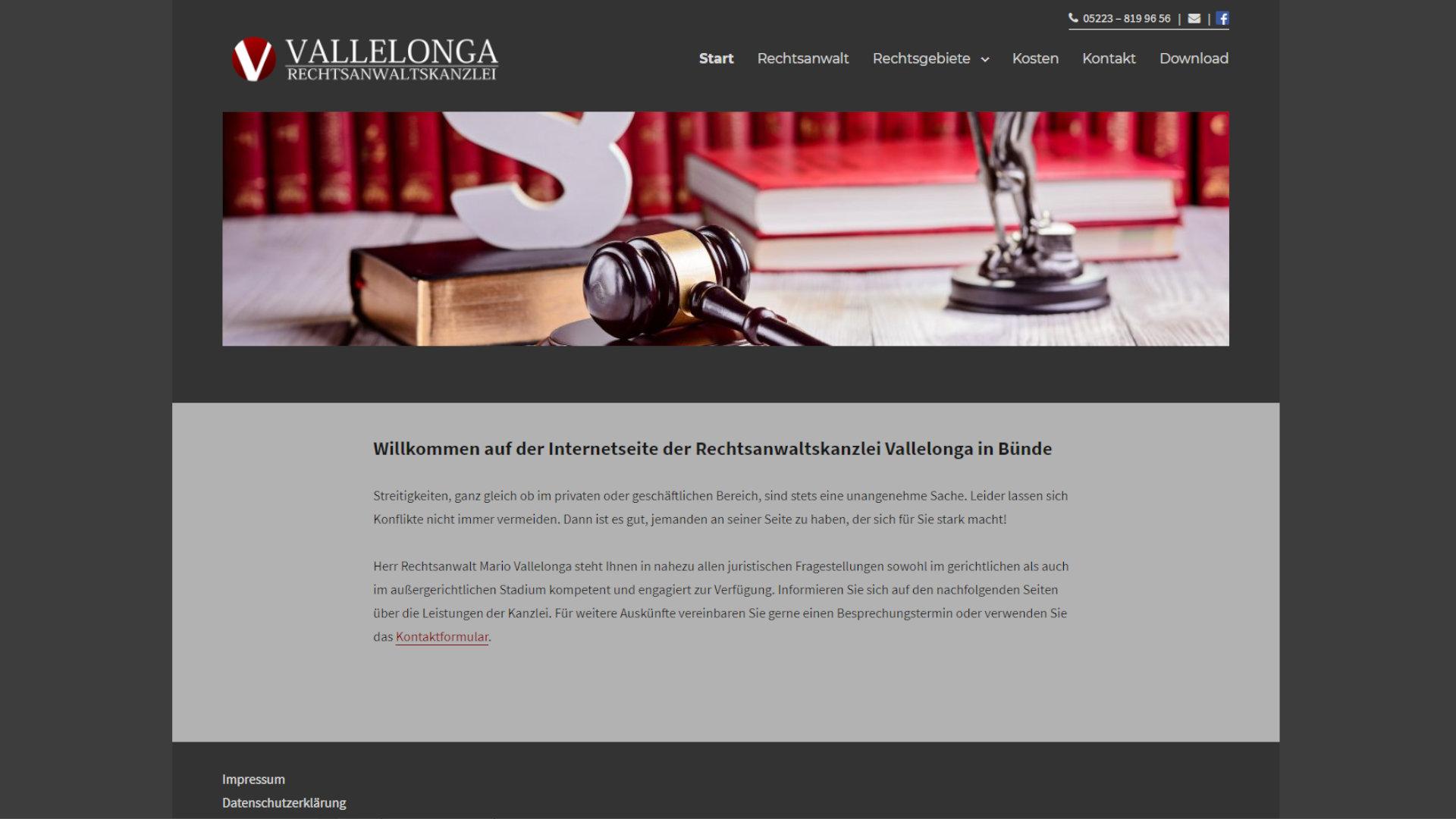 Screenshot: Homepage Rechtsanwaltskanzlei Vallelonga