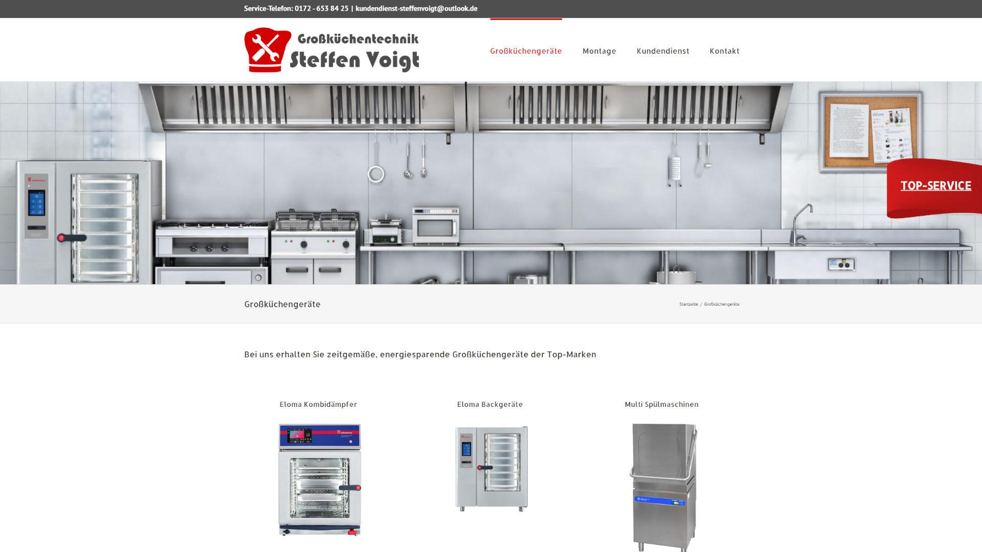 Screenshot: Homepage Großküchentechnik Voigt