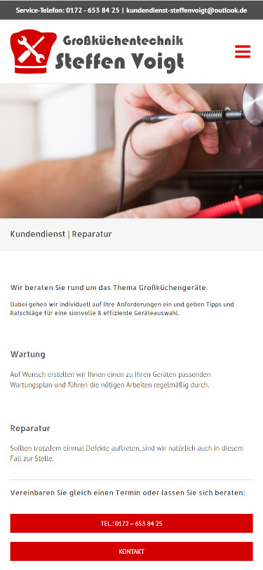 Screenshot Mobilansicht: Homepage Großküchentechnik Voigt