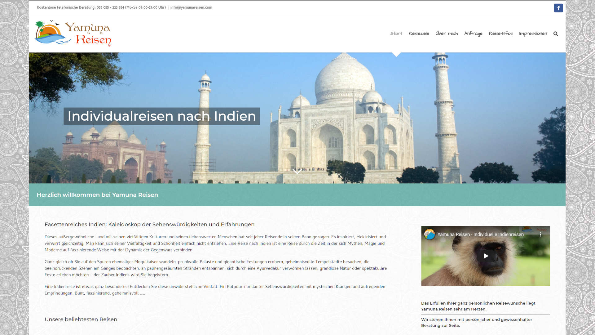 Screenshot: Homepage Yamunareisen