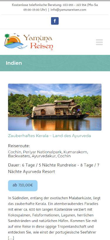 Screenshot Mobilansicht: Homepage Yamunareisen